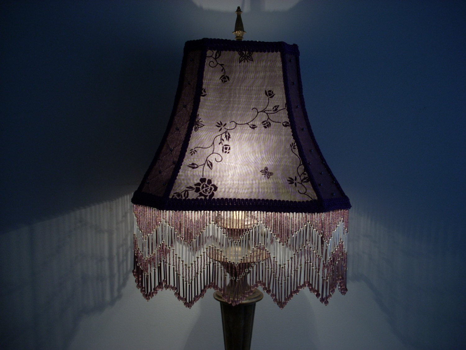 purple handmade victorian lamp shade with beaded by dianet4989