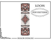 Bead Loom Pattern Tribal Ethnic Seed Bead Pattern Native American Square Stitch Bracelet Beaded Pattern Geometric Red BEADING PATTERN