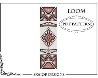 Bead Loom Pattern Tribal Ethnic Seed Bead Pattern Native American Square Stitch Bracelet Beaded Pattern Geometric Red BEADING PATTERN