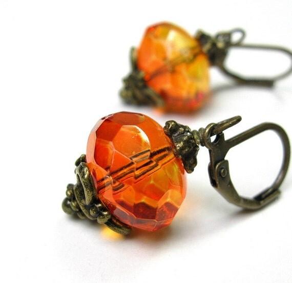 Fire Opal, Czech Glass, Vintage Style, Dangle Earrings, Celosia Orange, Pantone, Tangerine, Warm Color, Antiqued Brass, Victorian Style
