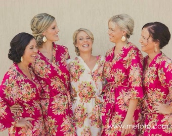 Magenta Bridesmaids Robes Sets Kimono Crossover Robe Spa Wrap Perfect bridesmaids gift, getting ready robes, Weddingl shower party favors