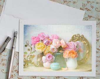 Roses Photo Notecard - Romantic Flower Photograph, Note Card, Stationery, Blank Notecard