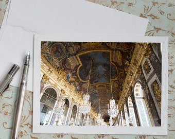 Paris Photo Notecard - Hall of Mirrors at Versailles, French Travel Note Card, Blank Card, Stationery