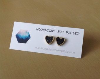 Speckled black brass heart stud earrings - limited quantities