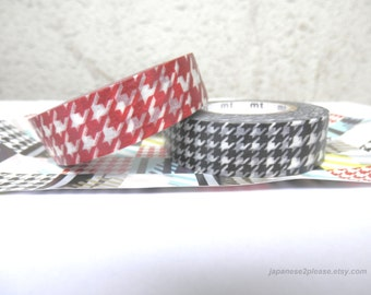 EXTRA LENGTH Pack of 2 - Washi Checks mt Black Washi Tape - 15mm x 15m ( 2 roll set)
