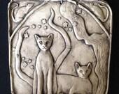 Cat Ceramic Pottery Animal  Relief Sculpture Tile