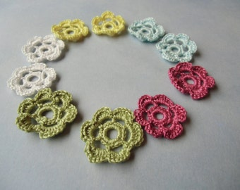 10 crochet rosettes for your craft. Your color choice.