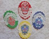 Sugar Skull MEDALLIONS- 4 Extra fancy- Sugar Skull art, Dia de los Muertos art Dia de los Muertos, Day of Dead art Prints, doily decorations