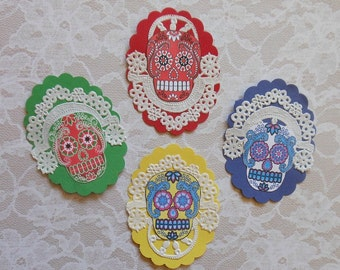Sugar Skull MEDALLIONS- 4 Extra fancy- Sugar Skull art, Dia de los Muertos art Dia de los Muertos, Day of Dead art Prints, doily decorations
