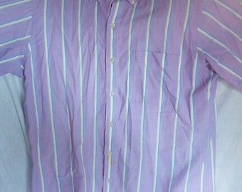 Arrow Dover shirt striped purple lavender dress shirt polyester mad men 1980s 80s eighties men large club