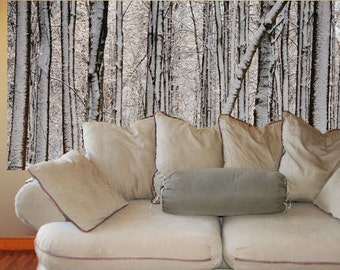 Wall Mural, Winter Forest, 3 feet by 6 feet - free US shipping