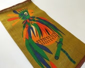 Mid Century Parrot Painting on Jute/Mod Wall Wallhanging