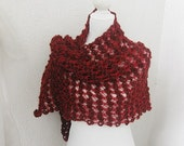 Knitted women Scarf, Knitted Shawl, Neckwarmer in Burgundy, Dogwood rose, Deep carmine, Crimson