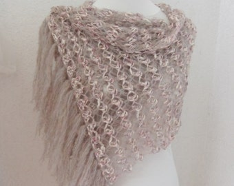 Bridal Shawl, Wedding Shawl, Soft pastel shades, light pink, cream, crochet Shawl,Rectiangle Shawl, OOAK