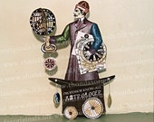 Halloween Decoration - Digital Astrologer, Spinning Globe And Astrology Zodiac Charts - INSTANT DOWNLOAD Paper Doll WIth Top Hat  HP10 H