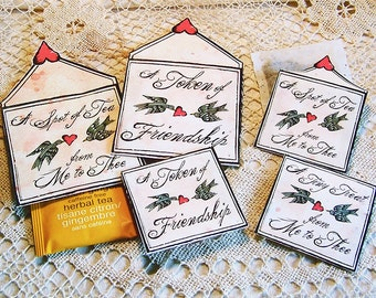Mini Tea Bag Envelopes - Valentine's Day Friendship Any Occasion - Digital INSTANT DOWNLOAD - 2 Sizes For Small Candy, Tiny Gifts CS46GB