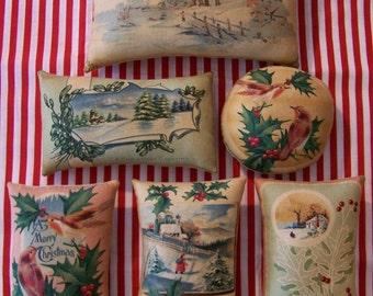 Set of 6 Primitive Folk Art Christmas Winter Postcards Bowl Filler Ornies Tucks Shelf Sitter Birds Winter Snow Stocking Stuffer Gift