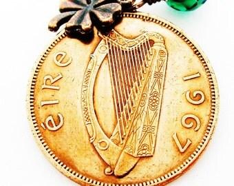 1967 IRISH Coin Charm Necklace-1967 IRISH Penny-Ireland Jewelry