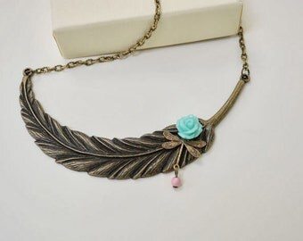 Romance of a dragonfly and flower necklace