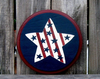 Star Sign, Painted Wood, Primitive Star, Round Sign, USA, Patriotic Sign, America, Red, White, Blue, Americana