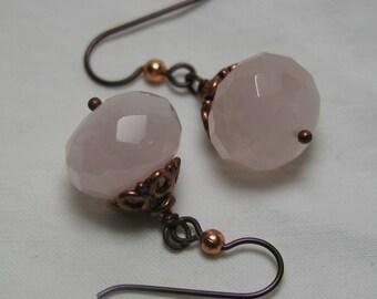 Pink Rose Quartz Copper Earrings Niobium Hypoallergenic Hooks Filigree Bead Cap