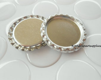 "100  pcs. FLAT SILVER  Linerless Bottle Caps and 100 pcs. 1"" Epoxy Resin Bottle Cap Seal Sticker Kit."
