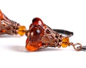 Brown trumpet bell flower and antique copper leverback earrings READY to ship (322) - Flat rate shipping