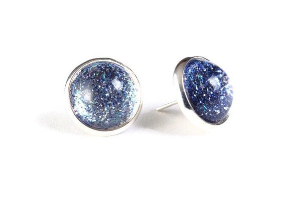 Sale Clearance 20% OFF - Blue sparkle post earrings - Shimmering bleu studs (818)