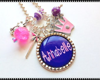 Princess Necklace - PRINCESS CROWN and WAND - Personalized Jewelry #B52