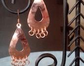 Teardrop Shaped Copper Hammered Earrings
