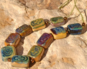10 Multicolor Relics - Handmade Lampwork Beads by DevonLynn Beads SRA