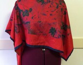 SALE Red Floral Night Garden Cover Up Top by Cori Jean