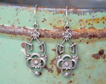 Antique Style Solid Silver Art Nouveau Earrings