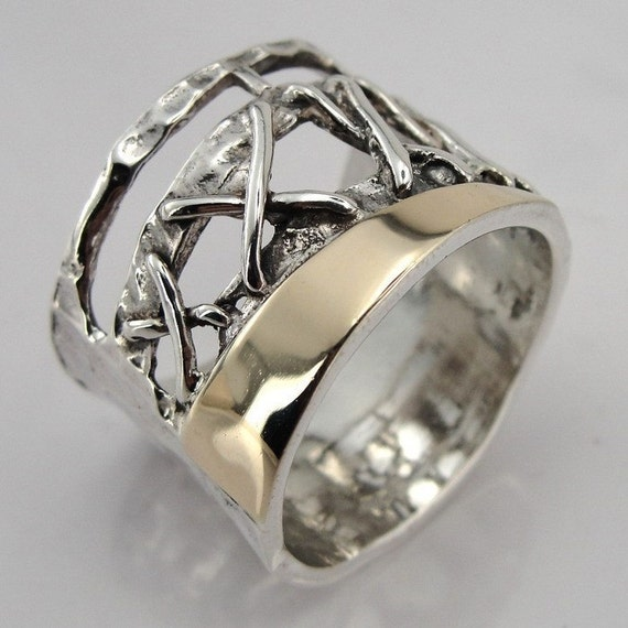 Handmade 925 Sterling Silver & 9K Yellow Gold band size 8 (s r1647)