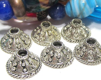 24 Antique silver Bead caps Tibetan alloy metal 13.5mm  Diy jewelry  supplies large hole bead 3849-U-3