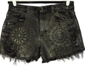 Acid Washed High Waisted Cut Off Jeans Black Shorts Acid Lace Wash Denim Slashed Frayed Fringe Studded Studs Zip Fly