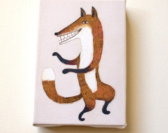 Dancing fox / Tiny canvas print