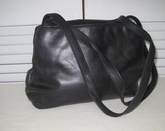vintage 1980's Black Leather Shoulder Bag