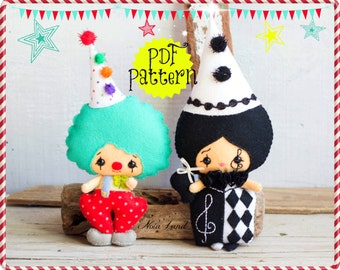 PDF Pattern. Clowns. Plush Doll Pattern