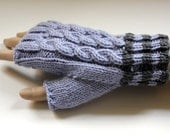 Amberley Gloves - Cabled Fingerless Gloves - in Merino and Cashmere mix - Silver Grey Pair - Size Medium - Women and Teens - Ready to ship