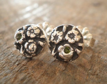Birthstone Bouquet Post Earrings Fine and Sterling Silvers