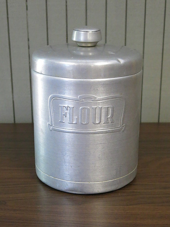 Heller Hostess Ware Aluminum Flour Canister Made in Italy