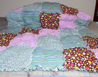 Rag Crib Quilt in Shades of Lime, Chocolate and Orchid