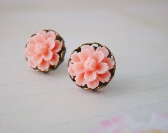 Salmon pink peach dahlia mums flower nickel and lead free antiqued bronze ear posts, bridesmaid earring, for wife, flower girls