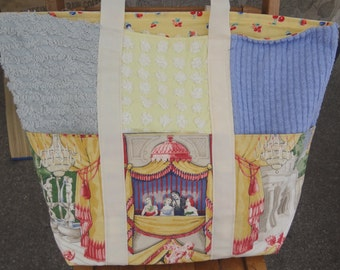 Theater Theme Market Bag / Stage Theme Chenille Tote