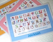 Personalized Alphabet Placemat for Kids, Grandchild, Toddler Table plastic wipe clean
