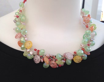 Beachy resort wear necklace, beaded necklace, rainbow color necklace, silver beaded necklace,