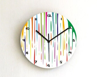 Dripping fresh paint colorful modern kids bedroom unique handmade printed design wall clock