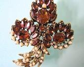 HOLLYCRAFT Brooch, Hollycraft Pin, Hollycraft Clasp, Vintage Hollycraft, Hollycraft Jewelry, Topaz, Seed Pearl, Fall Bridal Sash Brooch