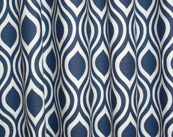 "Fabric shower curtain, navy blue and white, nicole cotton print, 72"", 84"", 90"", 96"", 108"" custom sizes available"